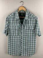 Alpine Design Men's Short Sleeve Shirt - Size Medium - Green Blue Check