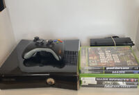 Xbox 360 Slim Black Console Bundle Controller Cables 250 GB 6 Video Games OEM