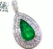 7.86ct 18ct Oro Esmeralda Natural Redondo Diamante Blanco Vintage Compromiso