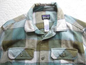 "Patagonia Brown & Blue Plaid 100% Organic Cotton Flannel Shirt Size Small 42"""