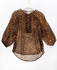 JENNIFER LOPEZ NEW 23197 Leopard Chiffon Blouse Womens Top PS