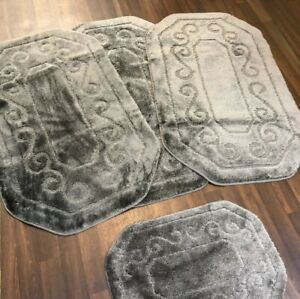 ROMANY GYPSY WASHABLES SETS OF MATS RUGS GREY-MATS SHAPED CARPETS NON SLIP NEW