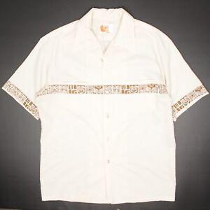 VTG Iolani Mens Hawaiian Shirt L Ivory Brown Tiki Head Print Pocket Camp