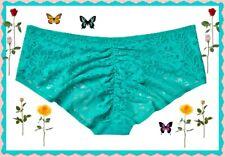 XL Capri Sea Teal Victorias Secret Ruched FULL Back Lace Stretch Hiphugger Panty