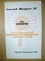 1976 ECWC 2nd RD 1st Leg Souvenir Programme.- CARRICK RANGERS v SOUTHAMPTON