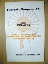 1976 ECWC 2nd RD 1st Gamba Souvenir PROGRAMME. - Carrick Rangers V Southampton