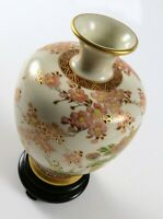 "Vintage Oriental Porcelain Vase Bird & Flowers, Crackle Glaze, Gold, 4 1/2"" Tall"