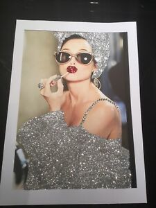 Glitter Audrey Hepburn picture A4 print only NO FRAME with glitter and diamantes