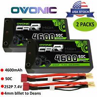 2X 50C 4600mAh 7.4V 2S Lipo Battery HardCase with Deans Plug for Traxxas RC Car