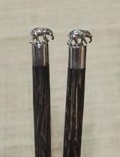 Unique Elephant Brass Figurine HandCrafted Chopsticks Coconut Wood 1 Pair