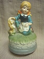 Vintage Ceramic Turning Music Box Little Girl & Puppy Dog by Andre Richard