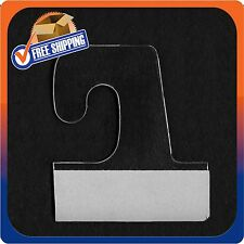 500 Self Adhesive Clear Plastic Hook Hang Tab Tags Pegbord Slatwall Hanger 14Oz