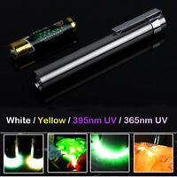 3 Watt XPE LED Flashlight Gemstones 395nm 365nm UV Blacklight White Yellow Torch