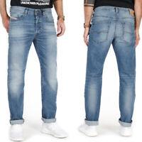 Diesel Mens Regular Slim Fit Light Blue Stretch Denim Jeans | Buster 0842H