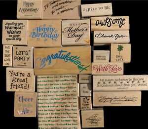 Lot Of Wooden Rubber Stamps Quotes Inspiration Holidays Birthday Thanks