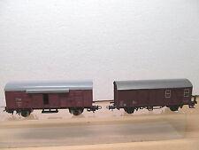 MES-37113H0 2 St. Güterwagen verschiedene Hersteller leichte Gebrauchsspuren,