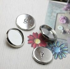 20PCS Silver Plate 14mm round Blank Settings Buttons #22718