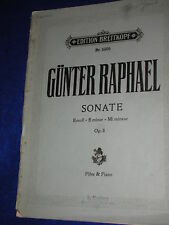 PARTITION sheet musik 5305 BREITKOPF sonate GUNTER RAPHAEL flote PIANO E moll