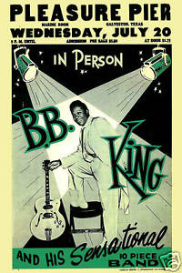 Blues Master: BB King at the Pleasure Pier Concert Poster 1955   12x18