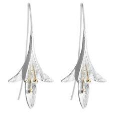 925 Silver Earrings Long Flower Lily of the Valley Dangle Drop Hook Earrings