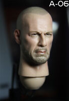 """1/6 A06 Male Bruce Willis Bald Head Sculpt PVC Model Fit 12"""" Action Figure"""