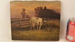 Antique Herbert Fish Cow in Pink Sky Landscape O/C Painting