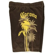 "Corona Mens 32"" Boardshorts Swim Trunks Board Shorts Brown Yellow"