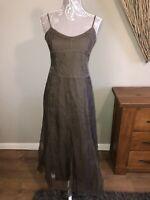 Jigsaw Ladies Stunning Dress Size 10 Grey Green Unusual Colour Shell 100% Silk