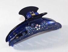 Brand New Metallic Blue Flower Bow-tie Hair Clip Claw w/Clear AB Blue Crystals