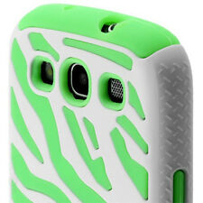 Samsung Galaxy S III 3 i9300 Hybrid Zebra Fusion Case Phone Cover White Green