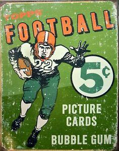 Platte Metall Vintage USA Topps Fußball - 40 X 30 CM