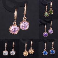 1 Pair Fashion Various Colors Crystal 18k Rose Gold Plated Dangle Hoop Earrings