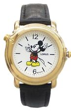 Lorus Musical Disney Mickey Watch With Gold Color Case& Dark Brown Leather Band