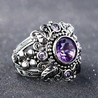 Damen echt 925 Silber Ring natürliche Lila Amethyst Edelstein Women silver Rings
