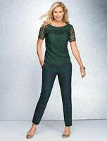 NEW $129 RSVP by TALBOTS Green Dot Lace Ruffle Top Sz PM,P M ( 10P,12P )