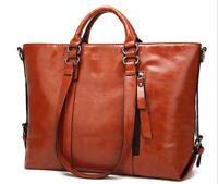 Women Oil Wax Leather Handbag Tote Shopper Shoulder Satchel Laptop Messenger Bag