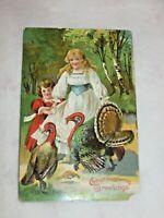 Vintage Thanksgiving Postcard Pretty Girls Sisters & Turkeys, Saxony Embossed