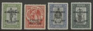 Papua KGV 1935 set of 4, SG 150 - 153 , MLH - MH