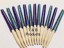Bling Candy Apple Sticks PURPLE AND TEAL Rhinestones. 6 Teal & 6 Purple.