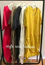 Wholesale Joblot Ladies Women's Plain Italian 100% LINEN LongLook Dress 6pcs Mix