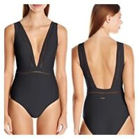 TED BAKER Woman's Swimwear POINTELLE DEEP V Onepiece SWIMSUIT Black NWT size 10