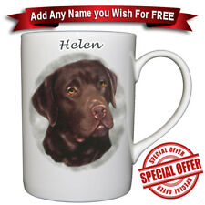 Labrador  Chocolate - Bone China Mug + Personalised with any name added for free