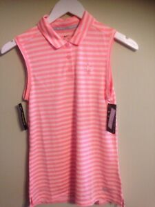 NWT Nike Womens XS Sleeveless Victory Polo Dri Fit 884869 647 Peach Stripe Logo