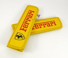 Ferrari Car Seat Belt Covers Shoulder Pads Yellow Leather Embroidery Red Color