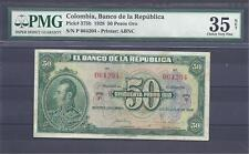 COLOMBIA  BANKNOTES $50 1928 PMG CERTIFIED 35 NET CHOICE VERY FINE
