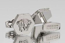 VERSACE Hexagon Cufflinks Medusa Head Silver Brass Mens jewelry Made in Italy