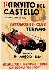 Circuit Del Casello 1949 Teramo Italy Vintage Poster Print Car Racing Art