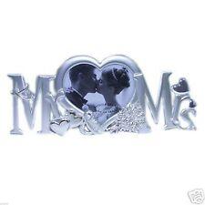 Mr & Mrs Silver Plated Heart Photoframe (XFS489)