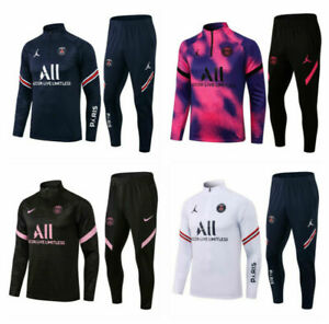 UK Adult Mens Football Survetement Training Suit Tops & Bottoms Sports Outfits