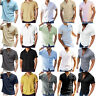Mens Solid Short Sleeve T Shirt Summer Button Down Casual Basic Tee Blouse Tops